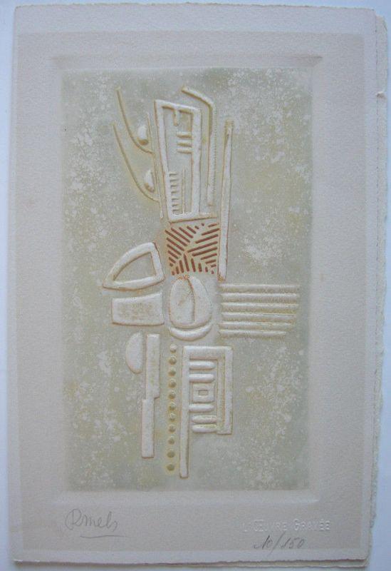 René Mels (1909-1977) ohne Titel geprägte Orig. Farbradierung Probedruck 1960