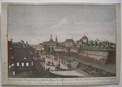 Optical view Guckkastenblatt Dresden Wilsches To Canaletto Orig Kupferstich 1750