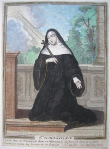 Hl. Scholastica von Nursia Norcia altokolor Orig Kupferstich 1780