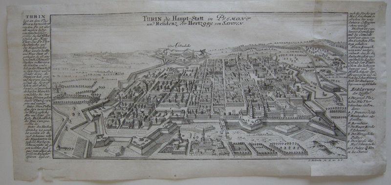 Torino Turin Piemonte Orig Kupferstich Bodenehr 1720 Italia