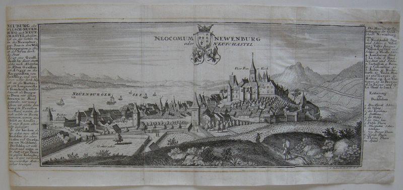 Neuchatel  Neuenburgersee Neuenburg Orig Kupferstich Bodenehr 1720 Schweiz