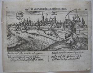 Straubing Niederbayern memento mori Orig Kupferst 1630 Meisner Schatzkästlein