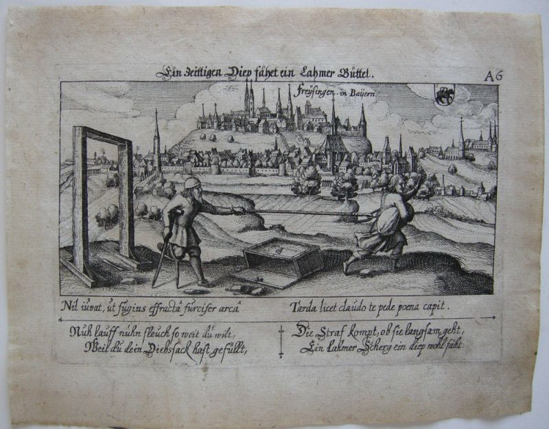 Freising Oberbayern Weihenstephan Orig. Kupferstich 1630 Meisner Schatzkästlein