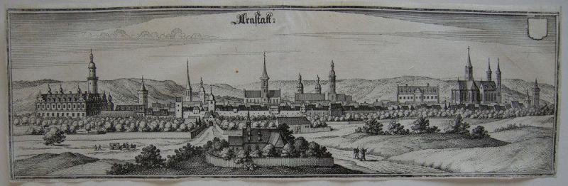 Arnstadt Thüringen Bachstadt Gesamtansicht Orig Kupferstich Matthäus Merian 1650