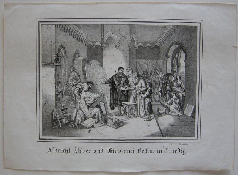 Albrecht Dürer und Giovanni Bellini in Venedig Orig. Lithografie Oeser 1845