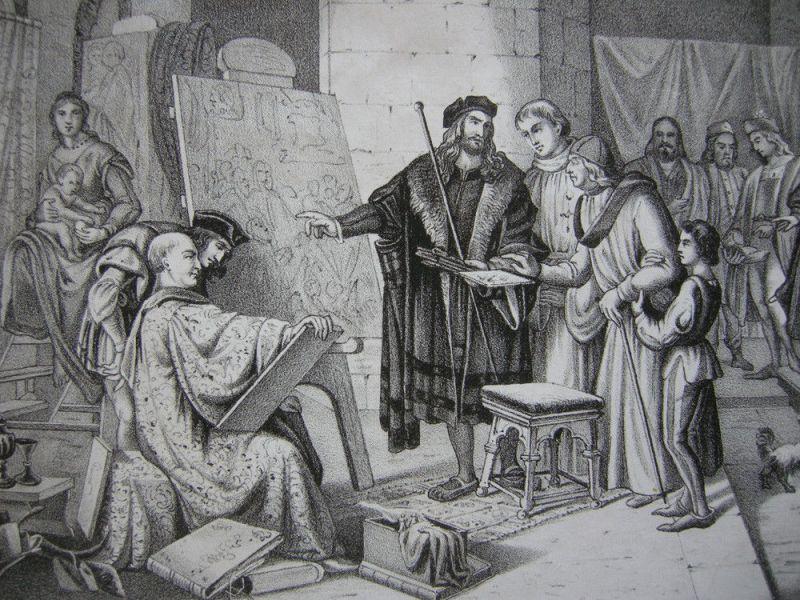 Albrecht Dürer und Giovanni Bellini in Venedig Orig. Lithografie Oeser 1845 1