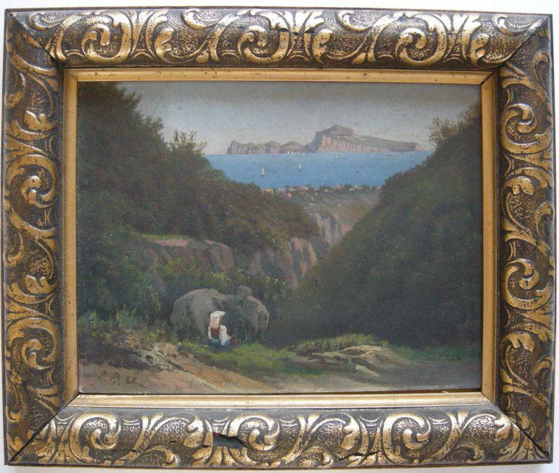 Capri Blick vom Festland auf die Insel Öl auf Platte Monogr. O. B. ...