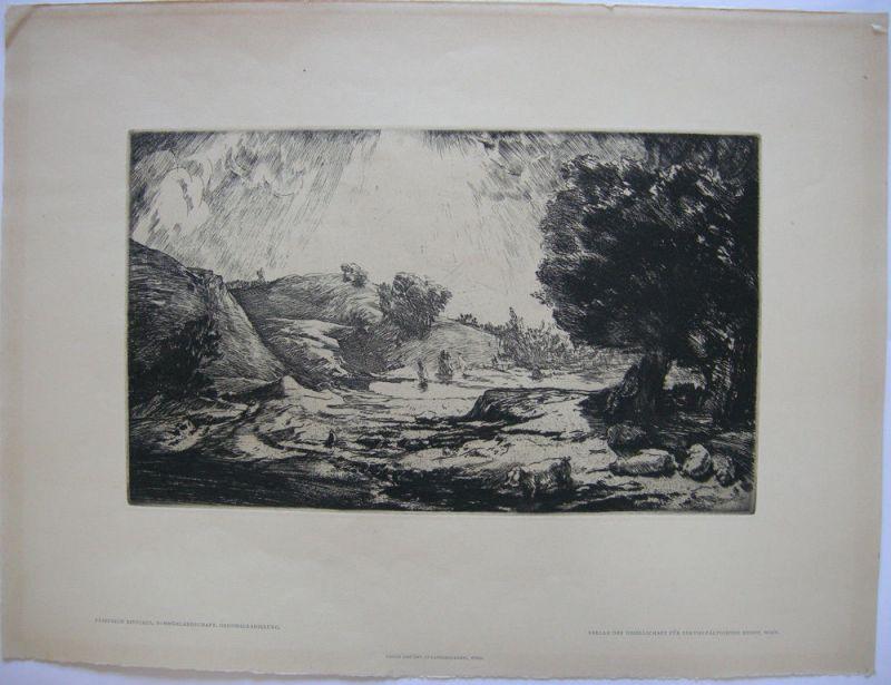 Friedrich Ritschel (1901 - ?) Sommerlandschaft Orig. Radierung 1930