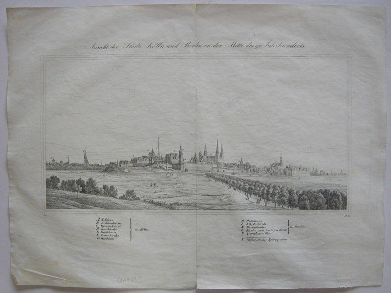 Berlin Kölln Ansicht Mitte 17. Jahrhundert Orig Federrlithografie 1840