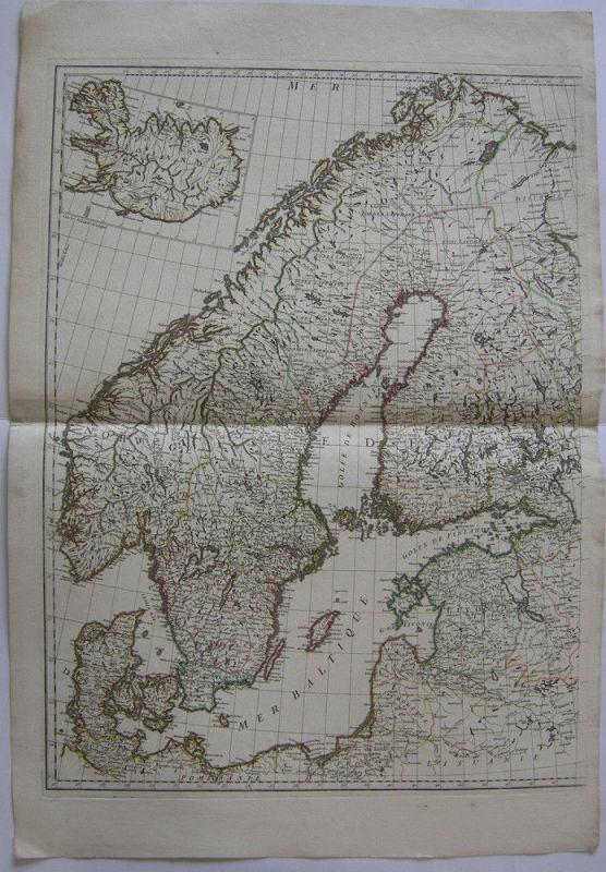 Skandinavien Norwegen Dänemark Schweden linke Hälfte Orig. Kupferstichkarte 1800