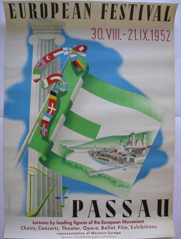 Plakat European Festival Lectures Passau 1952 Lithografie Entwurf E. Vogel