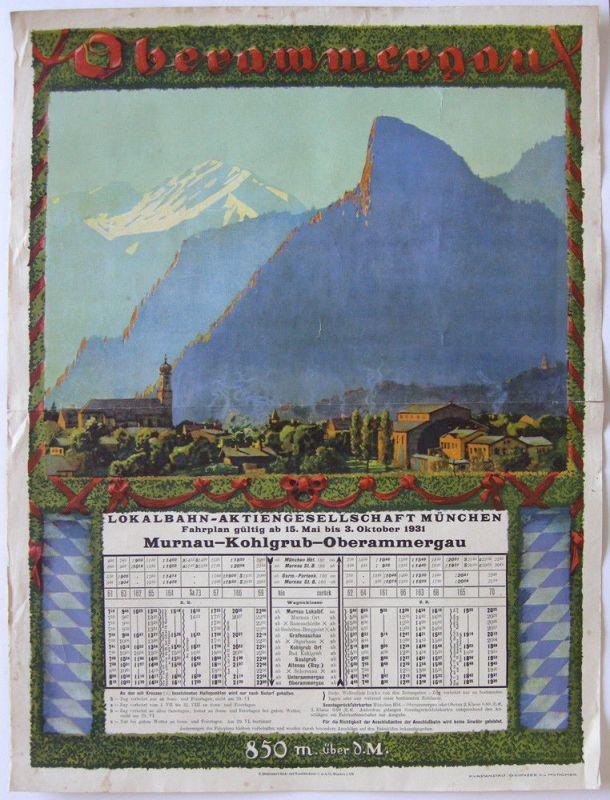 Lokalbahn Murnau-Oberammergau Offset-Plakat 1931 Consee München