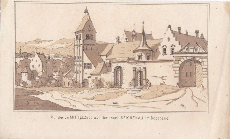 Münster zu Mittelzell auf der Insel Reichenau Bodensee Orig. Lithografie 1838