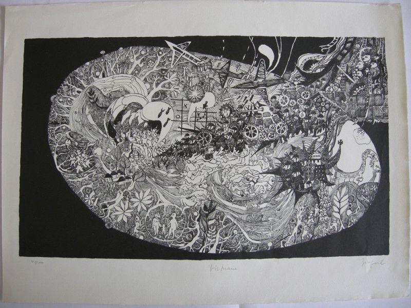 Guido Zingerl (1933) Vietnam Orig Lithografie 1971 signiert