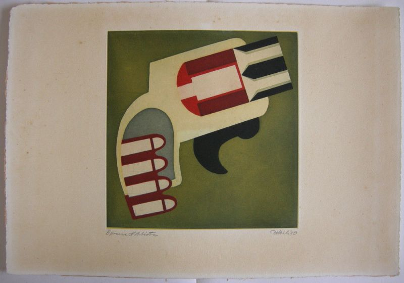 Simon Dittrich (1940) Pistole Orig Farbradierung 1970 signiert Probedruck
