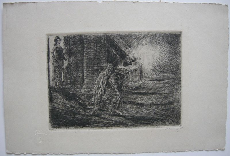 Max Slevogt (1868-1932) Macbeth mit dem Dolche Orig Radierung signiert 1927