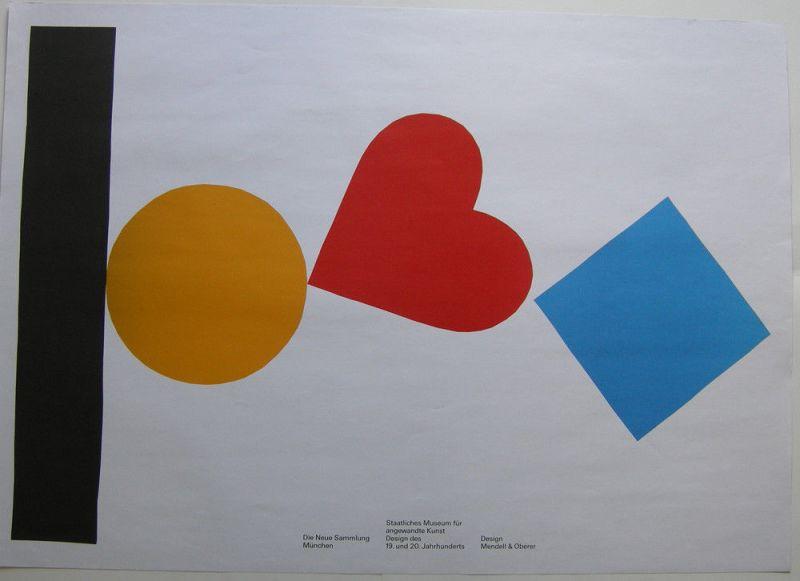 Plakat Neue Sammlung München 1991 Mendell & Oberer 119 x 84 cm