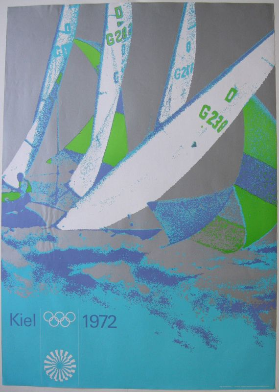 Olympische Spiele München Kiel Segeln 1972 Olympia P. Cornelius 119 x 84 cm