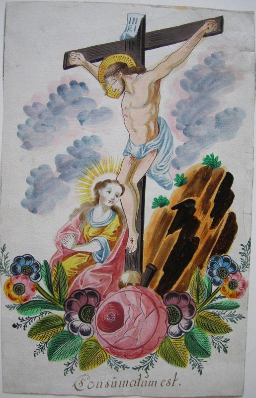 Consumatum est Maria Magdalena Gekreuzigter Blumenornament Orig Gouache