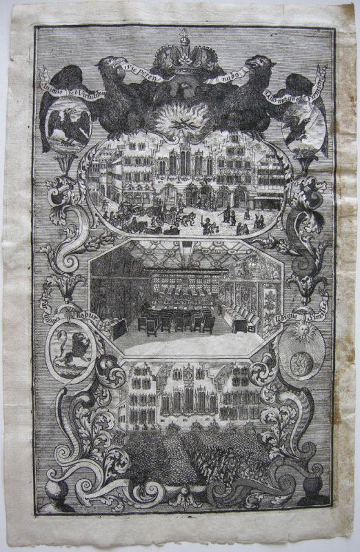 Frankfurt am Main Kaiserwahl Römer Rathaus Festsaal Orig Kupferstich 1711