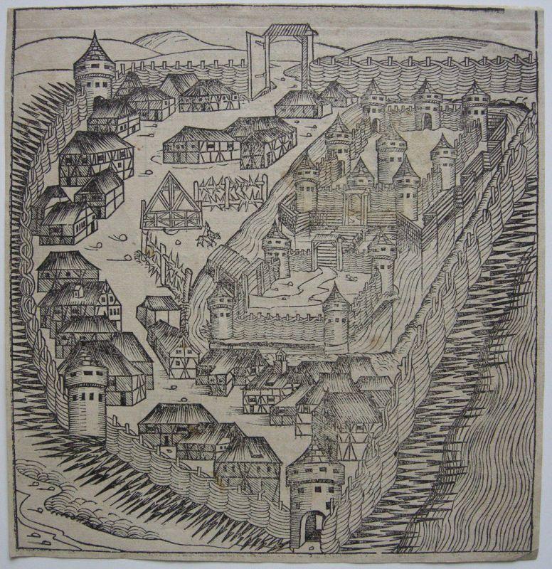 Sabac Serbien Orig Holzschnitt Schedel Weltchronik 1493 Inkunabelblatt