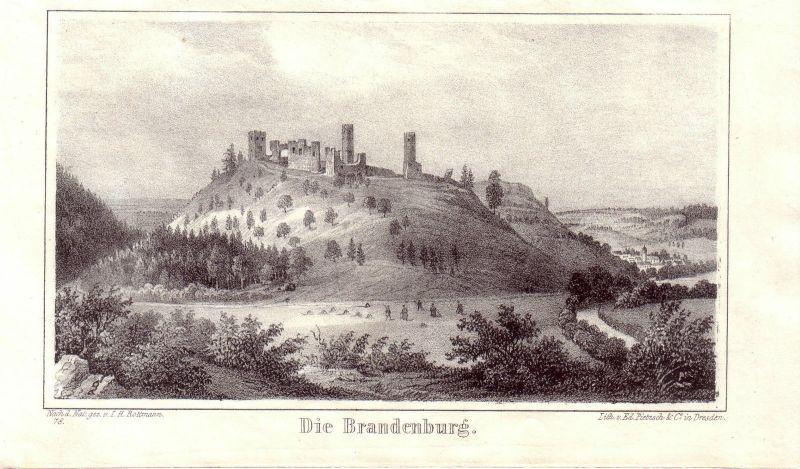 Die Brandenburg Lauchröden Wartburgkreis Thüringen Orig Lithographie 1842