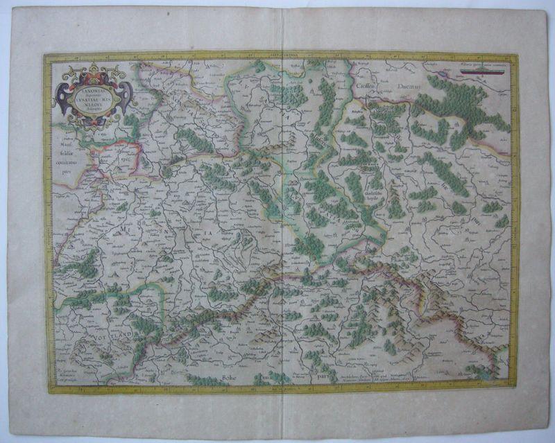 Sachsen Lausitz Meissen altkolor Orig Kupferstichkarte Mercator Hondius 1627