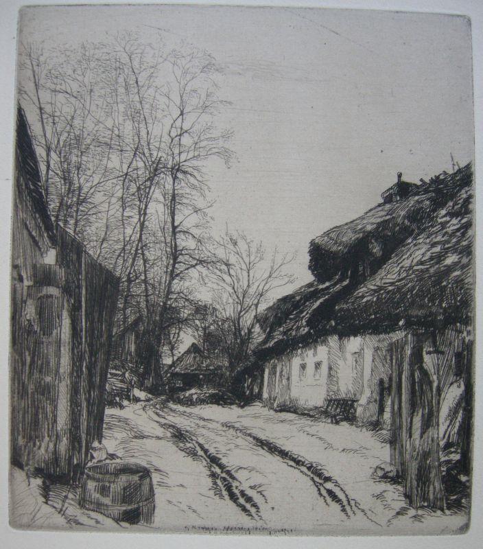Franz Hofer Motiv aus Laab (Oberungarn)  Ungarn Orig Radierung um 1910