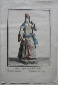 Hochrangige Türkin Osmanen Kostüm altkolor. Orig. Kupferstich bei Bonnart 1700