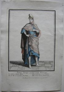 Türkin in moreskem Kostüm altkolor. Orig. Kupferstich bei Bonnart 1700