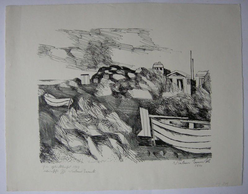 Dietmar Lemcke (1930) Dünenlandschaft Orig Lithografie 1960 signiert