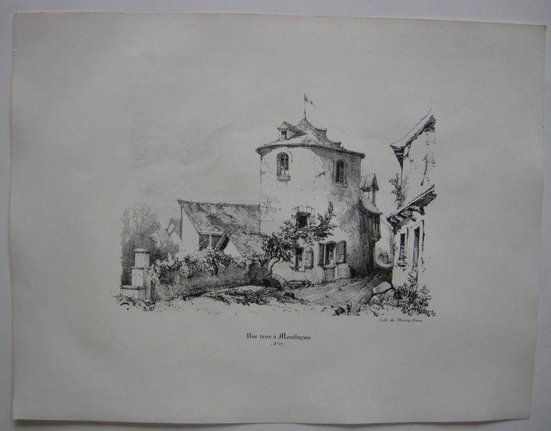 Montlucon Une tour Allier Auvergne France Orig Lithografie 1842