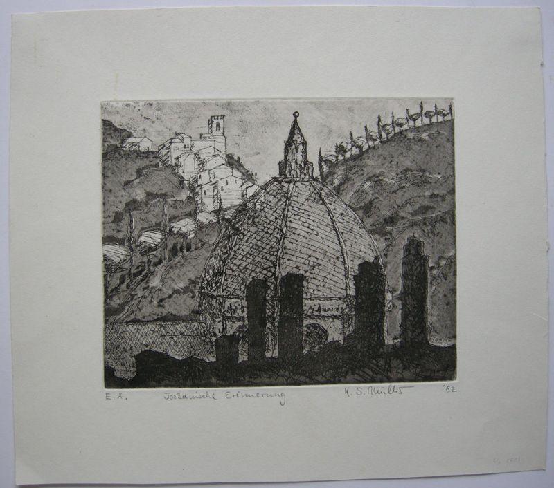 K. S. Müller (XX) Toskanische Erinnerung Orig Radierung 1982 Toskana Italien