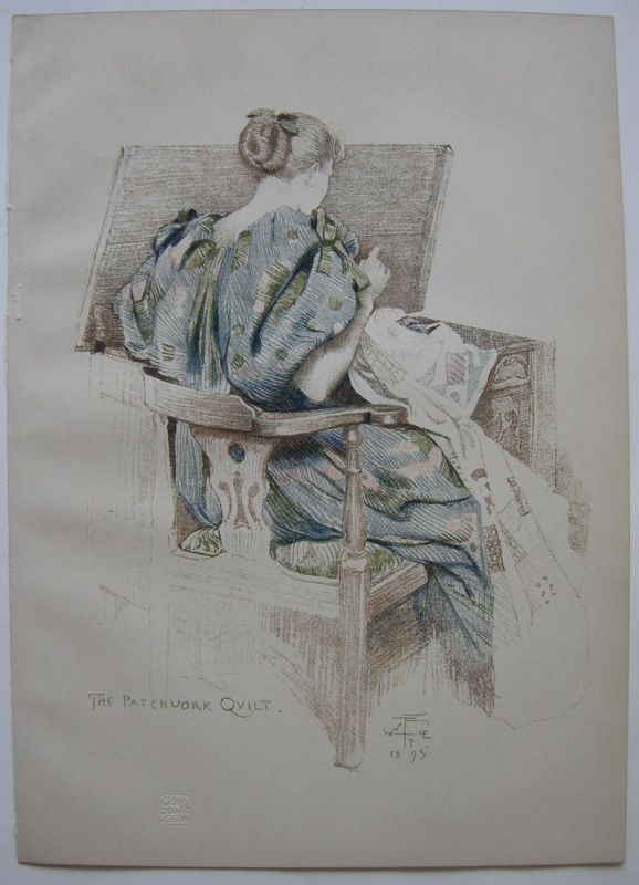 Walter West (1860-1933) The Patchwork Quilt Orig Lithografie 1895