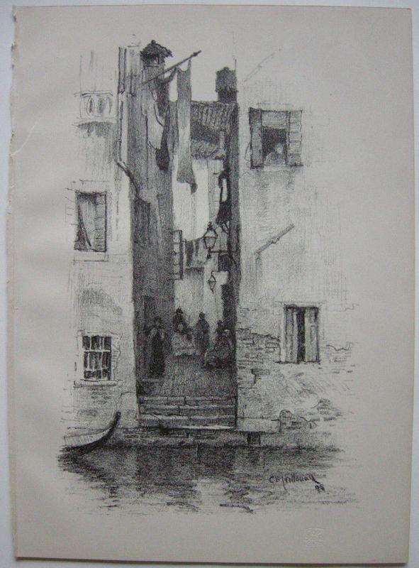 Charles Edw. Holloway (1838-1897) Street in Venice Venezia Orig Lithografie 1898