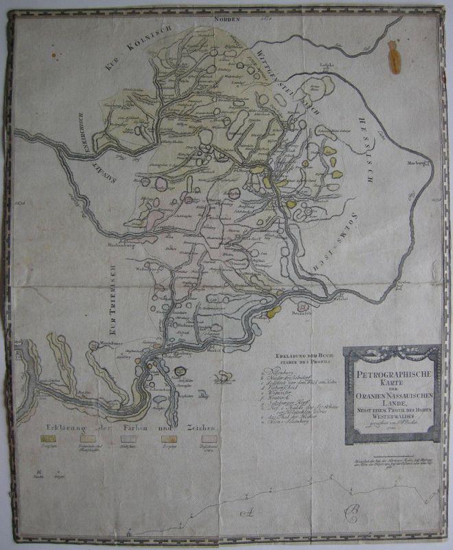 Petrographische Karte Oranien-Nassau Hessen Orig Kupferstich 1788 Westerwald