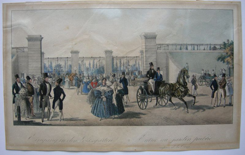 Josef August Sartory (XIX) Wien Eingang Volksgarten Orig Lithografie 1830