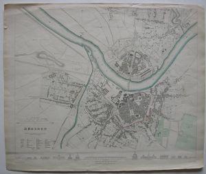 Dresden Stadtplan Sachsen kolor Orig. Stahlstich W. B. Clarke 1850