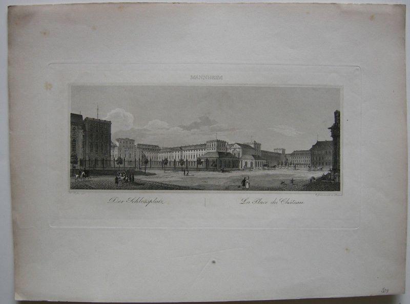 Mannheim Der Schlossplatz Orig Stahlstich Grünewald 1850 Baden Württemberg