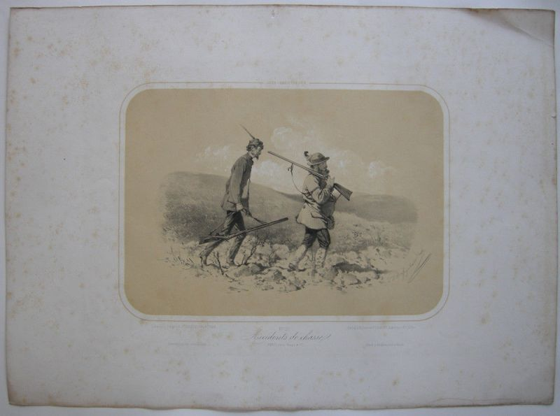 Zwei Jäger Jagd-Abenteuer kolor Orig Lithografie Tony Strassgschwandtner 1860
