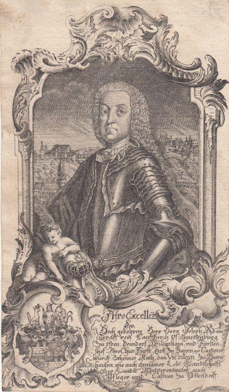 Joseph Adam von Taufkirchen Portrait Bayer Hofbeamter Orig Kupferstich 1750