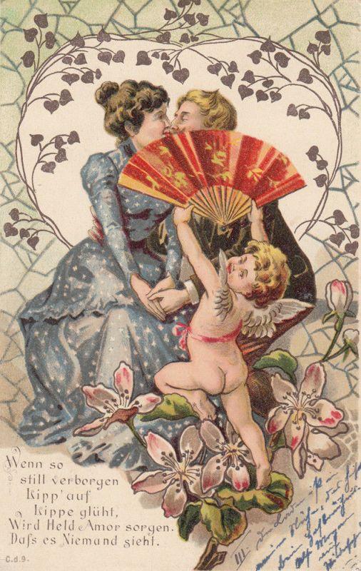 AK Liebespaar Amor mit Fächer florales herz Litho ungel ca. 1910 0