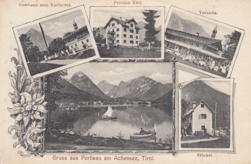 AK Pertisau Achensee Tirol Österreich Gasthaus Karlwirth Stöckel gel 1908 0
