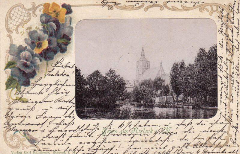 AK Rostock Mecklenburg-Vorpommern Marienkirche Stiefmütterchen gel 1900 0