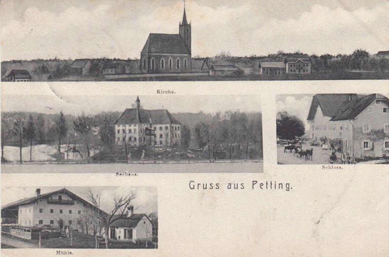 AK Petting Traunstein Seehaus Kirche Mühle Schloss gel 1906 0