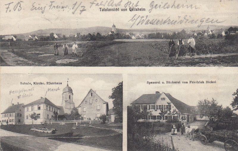 AK Geilsheim Wassertrüdingen Mittelfranken Bäckerei Bickel gel 1909 0