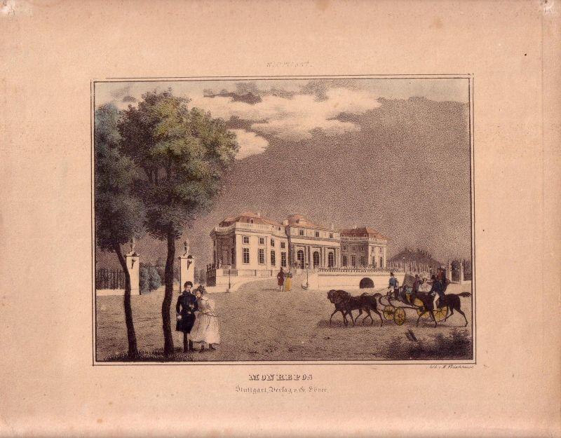 Stuttgart Monrepos Orig. Farblithographie von H. Fleischhauer 1845 0