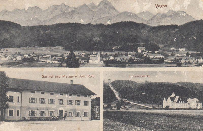 AK Vagen Feldkirchen-Westerham Rosenheim Gasthaus Kolb gel 1929 Leitzachwerke 0