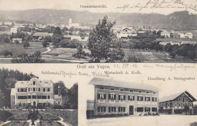 AK Vagen Feldkirchen-Westerham Rosenheim Gasthaus Kolb gel 1906 Steingraber