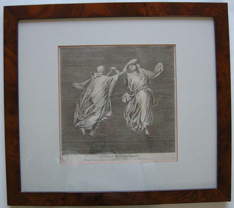 Jean Barbault (1718-1762) Zwei Tänzerinnen Herculanum Orig Kupferstich 1761